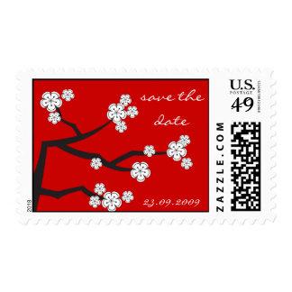 White Sakuras Save The Date Wedding Stamps