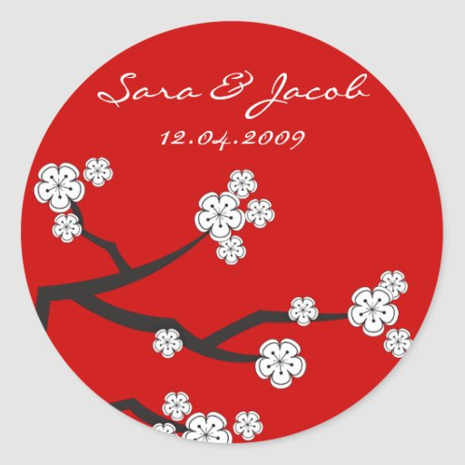 White Sakuras Thank You Favor Gift Label Sticker