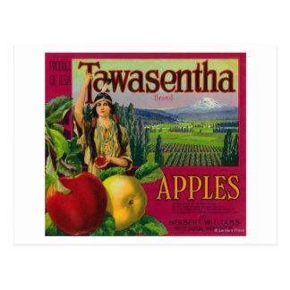 White Salmon, Washington - Tawasentha Apple Labe Postcard