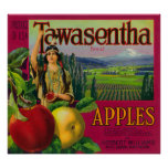White Salmon, Washington - Tawasentha Apple Labe Poster