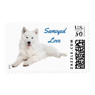 White Samoyed Puppy Dog Blue Love Postage