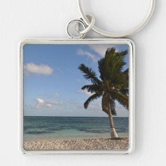 White Sand Beach and Palm Tree Photograph Keychain