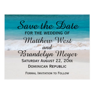 White Sand Beach Ocean Waves Save the Date Wedding Postcard