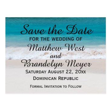 Beach Themed White Sand Beach Ocean Waves Save the Date Wedding Postcard
