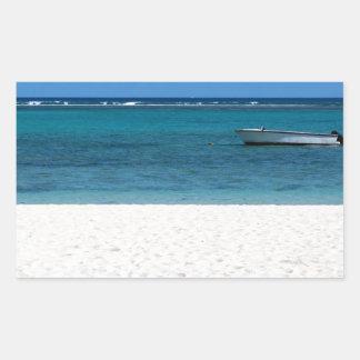 White sand beach of Flic en Flac Mauritius overloo Rectangular Sticker