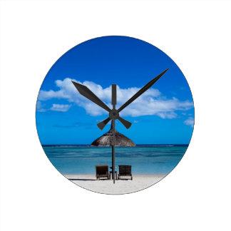 White sand beach of Flic en Flac Mauritius overloo Round Clock