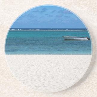 White sand beach of Flic en Flac Mauritius overloo Sandstone Coaster