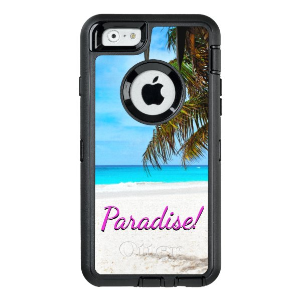 """White sand beach, palm tree, """"Paradise"""" text OtterBox Defender iPhone Case"""
