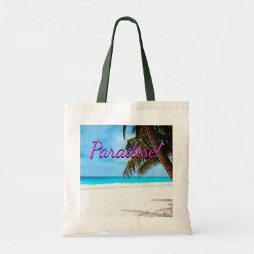"gypsypoetproducts White sand beach, palm tree, ""Paradise"" text Tote Bag"