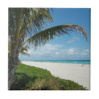 White Sand Beach w/Palm Ceramic Tile