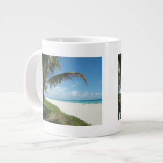 White Sand Beach w/Palm 20 Oz Large Ceramic Coffee Mug