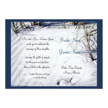 Beach Themed White Sand Beach Wedding Invitation