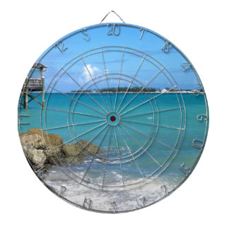White Sand Beaches in the Bahamas Dartboard With Darts
