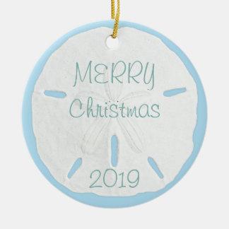 White Sand Dollar on Blue Tropical Christmas Ceramic Ornament