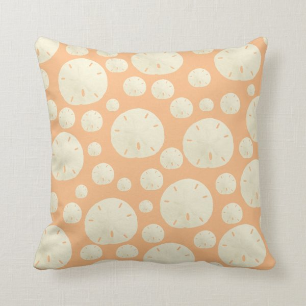 White sand dollars coral peach ocean throw pillow