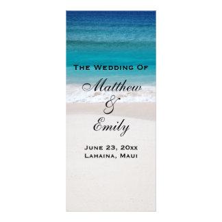 White Sand Ocean Beach Tropical Wedding Program Rack Card Design