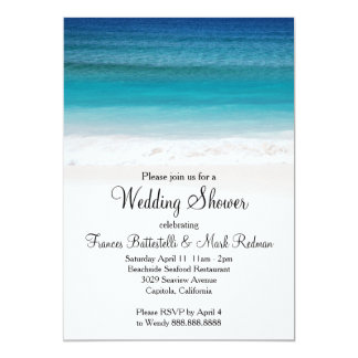 White Sand Ocean Beach Wedding Shower Invitation