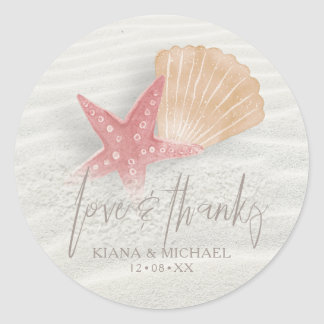 White Sands Love & Thanks Coral/Peach ID605 Classic Round Sticker