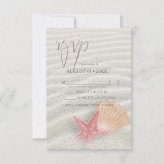 White Sands Starfish Wedding Coral/Peach ID605 RSVP Card