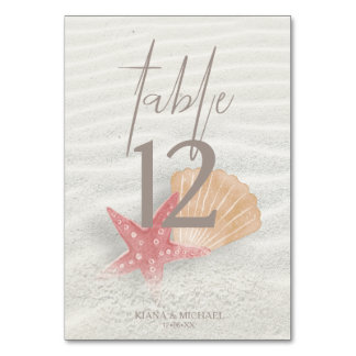 White Sands Starfish Wedding Coral/Peach ID605 Table Number