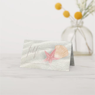 White Sands Wedding Table Coral/Peach ID605 Place Card