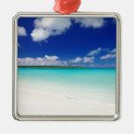 White Sandy Beach, Miyako Island Okinawa Adorno Cuadrado Plateado