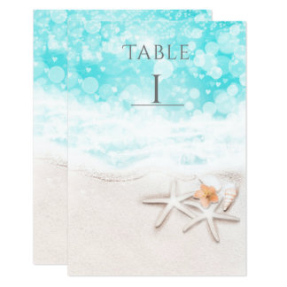 White Sandy Beach Starfish Blue Ocean Table Number