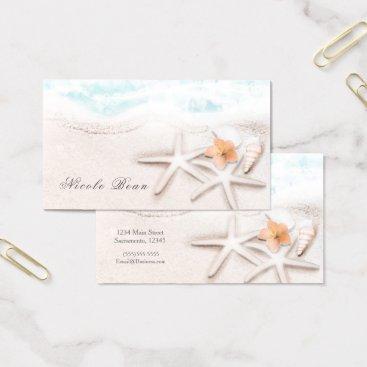 Beach Themed White Sandy Beach Starfish Blue Ocean Tropical Business Card