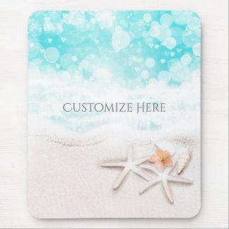 White Sandy Beach Starfish Blue Ocean Tropical Mouse Pad
