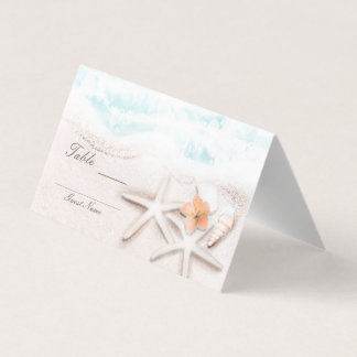 White Sandy Beach Starfish Blue Tropical Seating Place Card