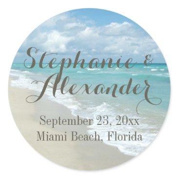 Beach Themed White Sandy Beach Waves Personalized Wedding Favor Classic Round Sticker