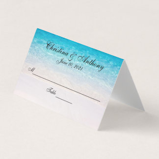 White Sandy Beach Wedding Reception Place Card