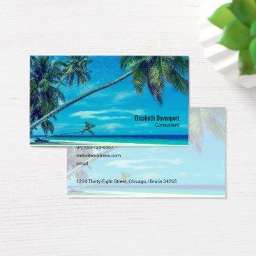 Beach Themed White Sandy Beach with Coconut Palms Business Card