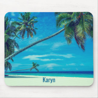 White Sandy Beach with Coconut Palms Mouse Pad