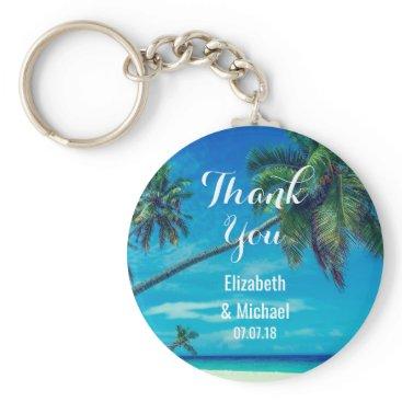 Beach Themed White Sandy Beach with Coconut Palms Wedding Keychain