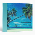 White Sandy Beach with Coconut Palms Wedding Plans Binder