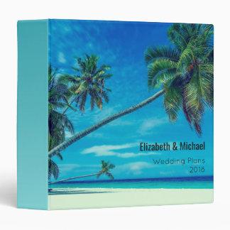 White Sandy Beach with Coconut Palms Wedding Plans Binder