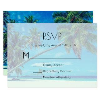 White Sandy Beach with Coconut Palms Wedding RSVP Card