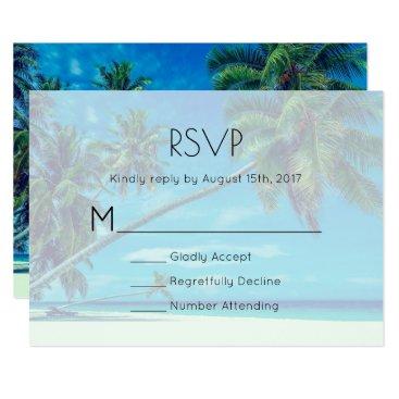 Beach Themed White Sandy Beach with Coconut Palms Wedding RSVP Card