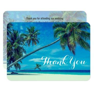 Beach Themed White Sandy Beach with Palm Trees Wedding Thanks Card