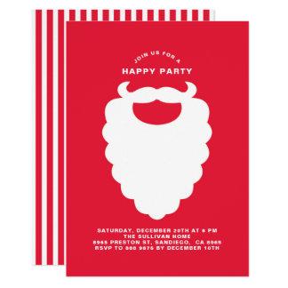 White Santa Beard Modern Holiday Party Invitation