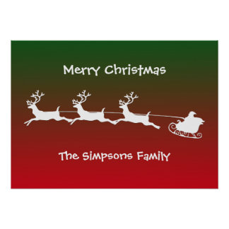 White Santa Deer Christmas Cart Poster