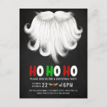 White Santa's Beard Christmas Party Invitation Postcard