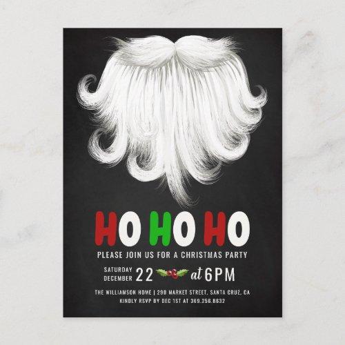 White Santas Beard Christmas Party Invitation Postcard