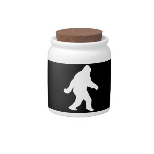 White Sasquatch Silhouette For Dark Backgrounds Candy Jars