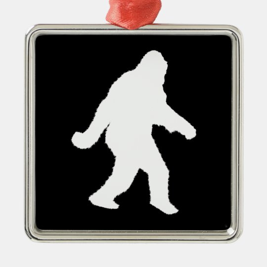 White Sasquatch Silhouette For Dark Backgrounds Metal Ornament