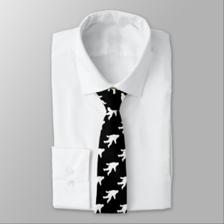 White Sasquatch Silhouette For Dark Backgrounds Tie