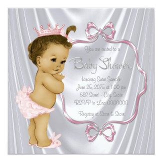 White Satin African American Indian Baby Shower Card