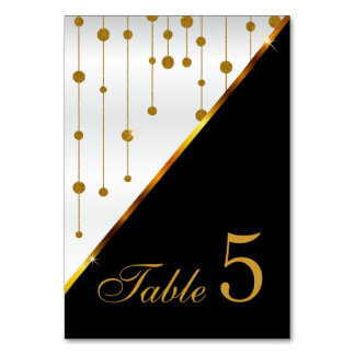 White Satin and Gold Confetti Dot Strings Card