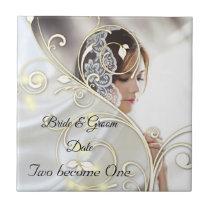 White satin and gold design Wedding Ceramic Tile